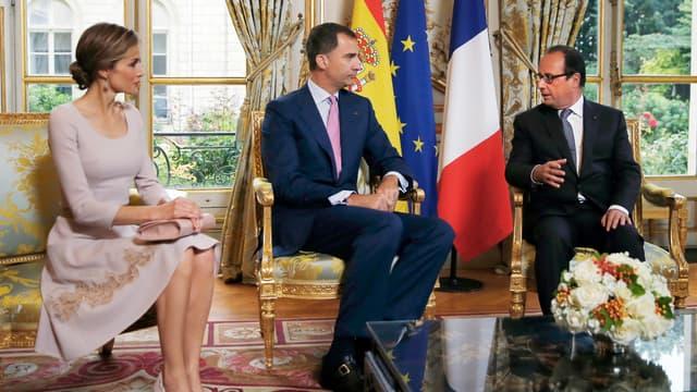 Felipe et Letizia d'Espagne à l'Elysée, lors de leur première venue en France, en juillet 2014.