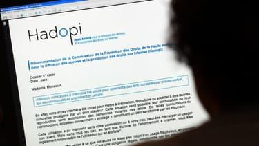 Exemple de courrier envoyé par la Hadopi