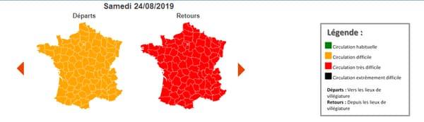Samedi 24 août, la journée est classée rouge sur l'ensemble du pays.