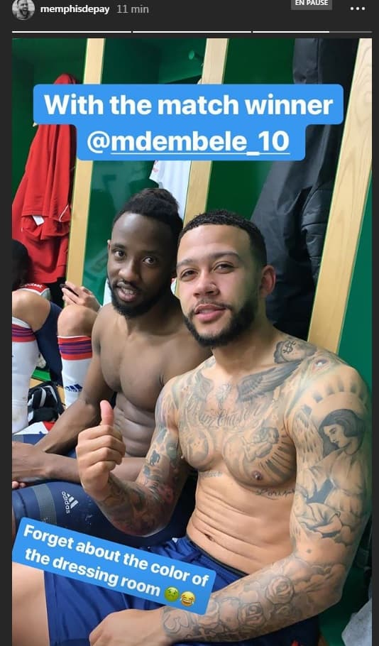 Memphis Depay avec Moussa Dembélé