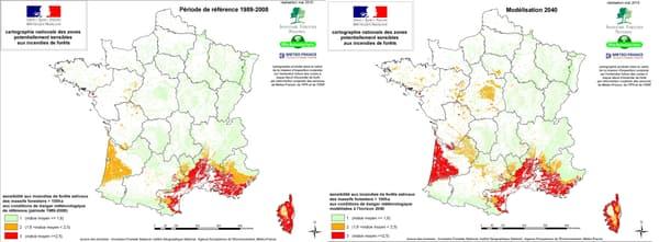 Zones de l'hexagone potentiellement sensibles aux incendies de forêts
