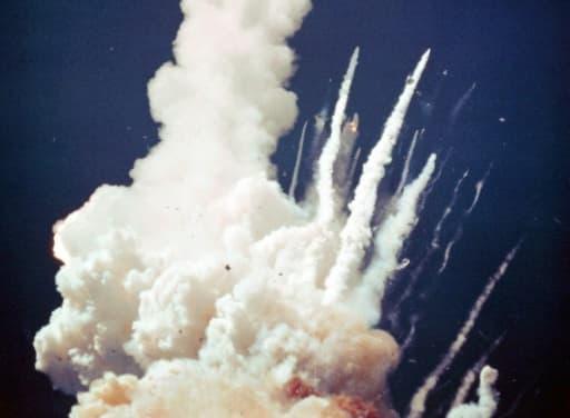 Image de la Nasa montrant l'explosion de la fusée Challenger le 28 janvier 1986 75 secondes après son décollage du Centre spatial Kennedy en Floride
