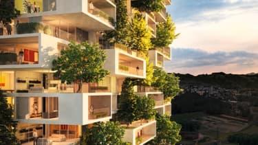 """Situé à Chavannes-près-Renens, en Suisse, cet immeuble-forêt de 117 mètres de haut offrira selon son créateur """"un panorama extraordinaire"""" sur le lac de Lausanne."""
