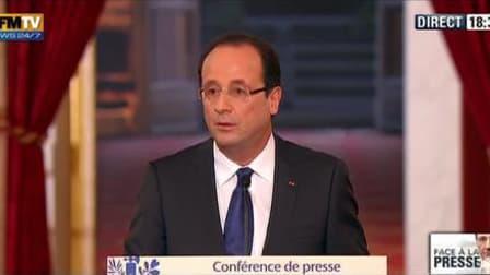François Hollande, mardi 13 novembre, lors de sa conférence de presse à l'Elysée