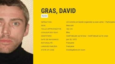 Fiche d'avis de recherche de David Gras, diffusé par Europol, l'office européen de police.