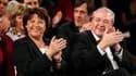 Martine Aubry, aux côtés de Jean-Paul Huchon, candidat socialiste aux Régionales en Ile-de-France, lors d'un meeting des listes franciliennes au Cirque d'Hiver à Paris. Le premier secrétaire du PS a appelé les électeurs à porter la gauche à la tête de l'e
