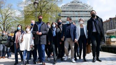 Le secrétaire national d'EELV Julien Bayou, le premier secrétaire du PS Olivier Faure, la maire de Paris Anne Hidalgo et l'ancien candidat à la présidentielle Benoît Hamon étaient notamment réunis ce samedi.