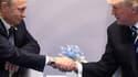 Le président russe Vladimir Poutine et le président des Etats-Unis Donald Trump, le 7 juillet 2017 à Hambourg en Allemagne, en marge du G20.