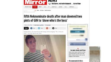 """Le Mirror raconte l'histoire de ce jeune homme, probable cinuième victime du jeu """"Neknomination"""""""