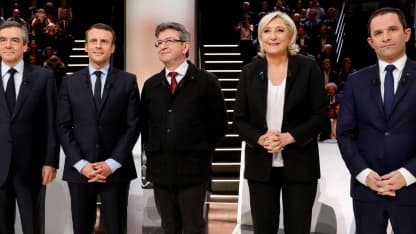 (g-d) François Fillon (LR), Emmanuel Macron (En Marche!), Jean-Luc Mélenchon (la France insoumise), Marine Le Pen (FN) et Benoît Hamon (PS), lors du débat sur TF1 le 20 mars 2017