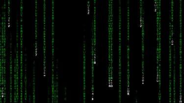Les pluies de caractères en lignes de code, typiques du film Matrix.