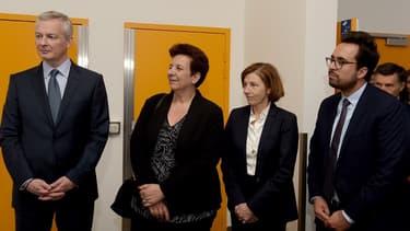 De gauche à droite, les ministres : Bruno Le Maire (Économie), Frédérique Vidal (Recherche), Florence Parly (Défense), Mounir Mahjoubi (Numérique).