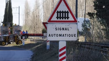 Un panneau annonçant le passage à niveau à Millas