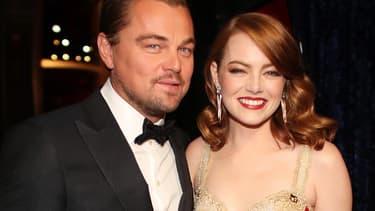 Leonardo DiCaprio et Emma Stone aux Oscars 2017.