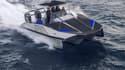 Le quadrimaran T9-Prime à l'oeuvre en mer Méditerranée.