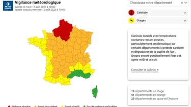 La vigilance de Météo France ce mardi 11 août.