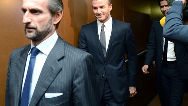 Jean-Claude Blanc, David Beckham et Nasser Al-Khelaïfi
