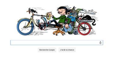 Gaston Lagaffe juché sur l'une de ses inventions, doodle de ce vendredi 28 février 2014.