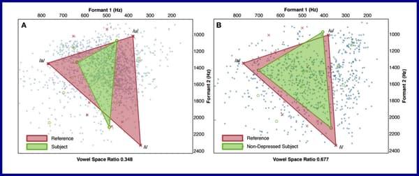 Espaces de voyelles de deux sujets, l'un dépressif (gauche), l'autre non (droite).