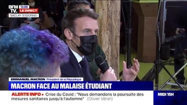 """Emmanuel Macron face aux étudiants: """"On aura un 2e semestre avec le virus et beaucoup de contraintes"""""""
