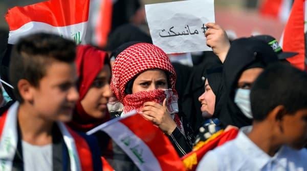 Manifestation dans la ville de Diwaniyah, en Irak, le 3 novembre 2019