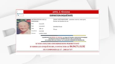 La gendarmerie du Var a lancé un appel à témoins pour retrouver un homme de 78 ans.