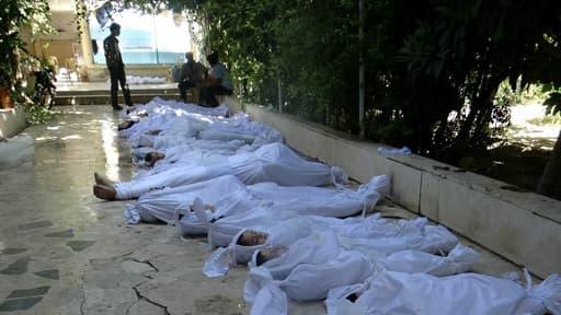 Victimes présumées de l'attaque chimique du 21 août dans la banlieue de Damas.