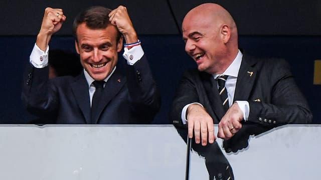 Macron et Infantino lors de la finale de la Coupe du monde 2018