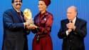 Sepp Blatter (FIFA), le Cheick Al-Thani et son épouse lors de l'attribution de la Coupe du monde au Qatar en 2010.