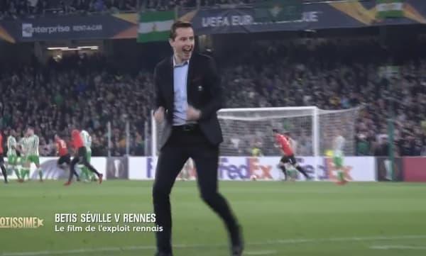 Julien Stéphan lors de la victoire de Rennes au Bétis