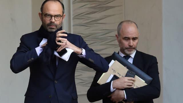 L'ancien Premier ministre Edouard Philippe aux côtés de son ami et ancien conseiller Gilles Boyer à l'Elysée en 2018.