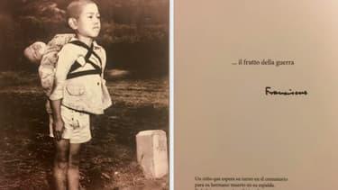 Terrible cliché de cet enfant attendant son tour au crématorium pour son petit frère mort qu'il porte sur le dos.