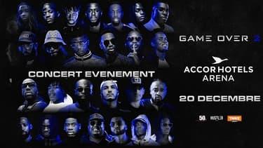 L'affiche du concert Game Over 2 à l'AccorHotels Arena le 20 décembre.