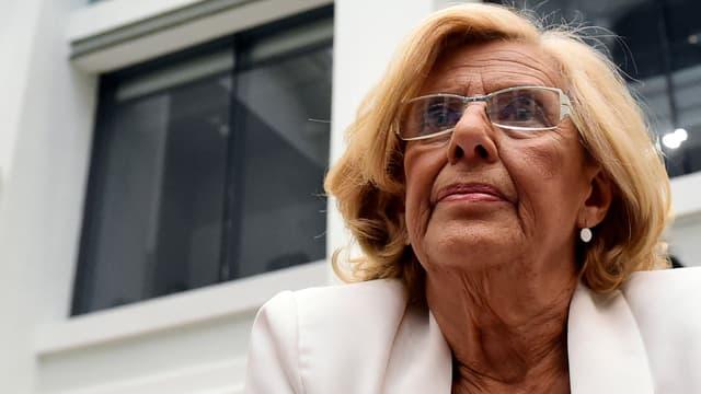 L'ancienne juge Manuela Carmena, à son arrivée au Palais Cibeles, siège de la mairie de Madrid, ce samedi.