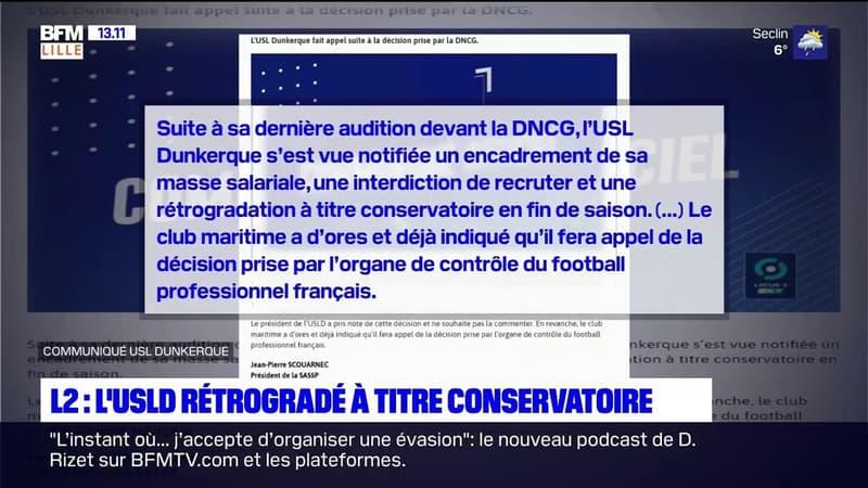 Ligue 2: Dunkerque rétrogradé à titre conservatoire en fin de saison