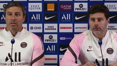 Miguel D'Agostino et Mauricio Pochettino en conférence de presse, à Paris le 28 octobre 2021