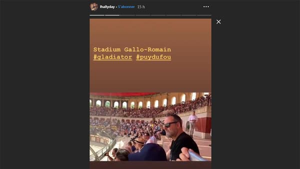 Jean Reno dans la story Instagram de Laeticia Hallyday, au Puy du fou le 28 juin 2019.