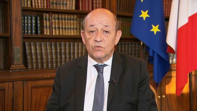 Le ministre des Affaires étrangères Jean-Yves Le Drian, le 10 mai 2018 sur BFMTV.