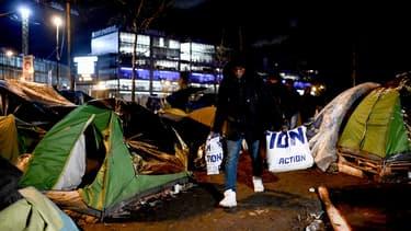 Un camp de migrants à Aubervilliers, en janvier 2020 (photo d'illustration)