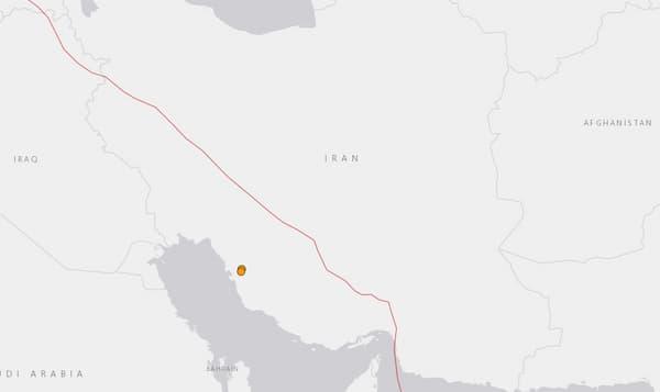 Les deux points orange au sud-ouest de l'Iran représentent la zone du séisme du mercredi 8 janvier 2020