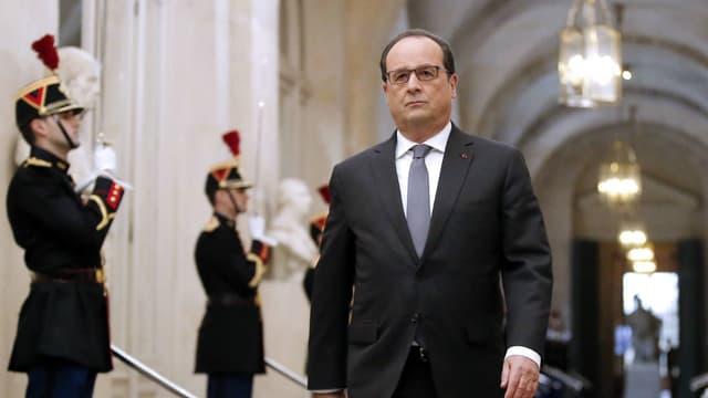 François Hollande à son arrivée devant le Congrès à Versailles, le 16 novembre 2015.