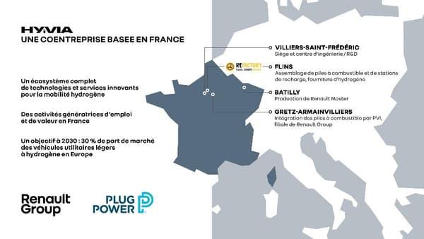 Hyvia, coentreprise entre Renault et Plug Power dédiée à la mobilité hydrigène, sera implantée en France.