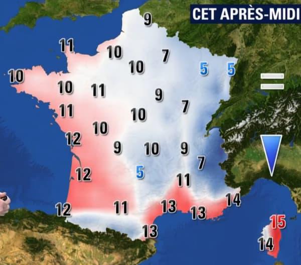 Les températures de ce mercredi 17 janvier dans l'après-midi