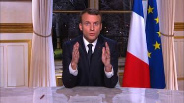 Emmanuel Macron lors des voeux de 2017