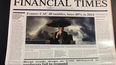 """La fausse une de l'édition du Financial Times avec les """"cygnes noirs"""" de Saxo Bank."""