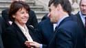 Lors du déplacement à Lille de Nicolas Sarkozy, le chef de l'Etat et la première secrétaire du Parti socialiste, Martine Aubry, se sont livrés jeudi à un duel sans concession à cent jours du premier tour de l'élection présidentielle. /Photo prise le 12 ja