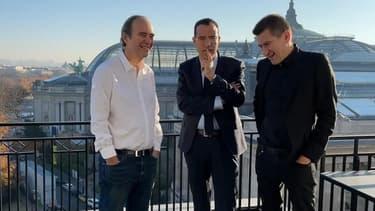 De gauche à droite, Xavier Niel, Moez-Alexandre Zouari et Matthieu Pigasse.
