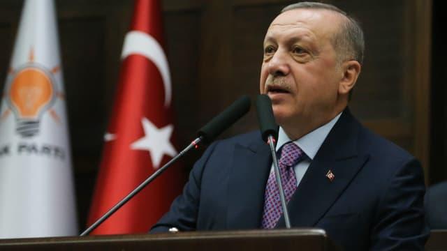 Le président turc Recep Tayyip Erdogan lors d'un meeting à Ankara, le 26 février 2020