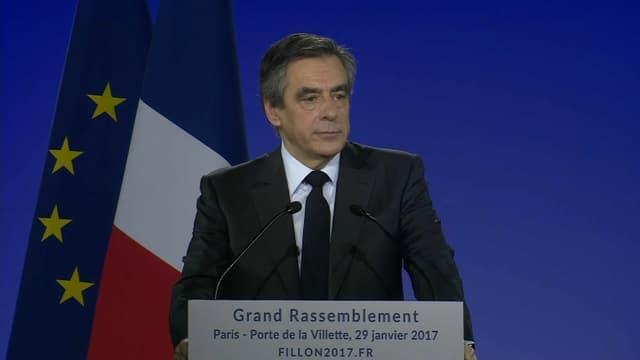 François Fillon lors de son discours à La Villette, le dimanche 29 janvier