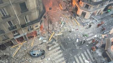 Vue générale après l'explosion survenue rue de Trévise à Paris, le 12 janvier 2019